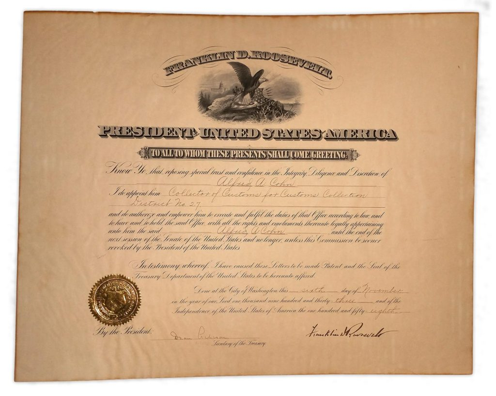 A large, signed appointment by Franklin Roosevelt. PSADNA AB03038. Used for PR-FDR02.