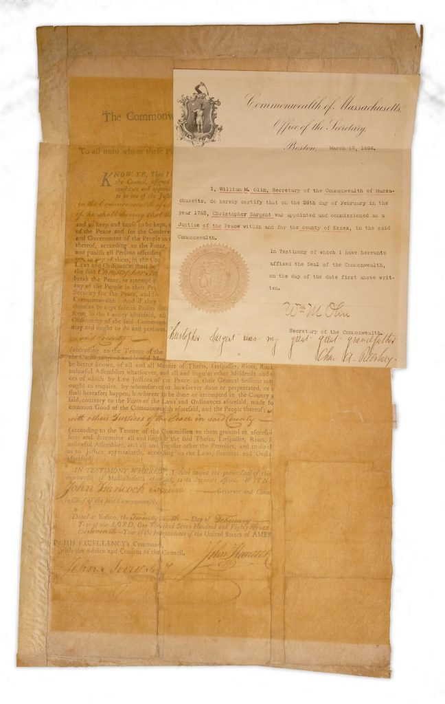 A large, brittle, John Hancock signed document. Used for PR-JH01.