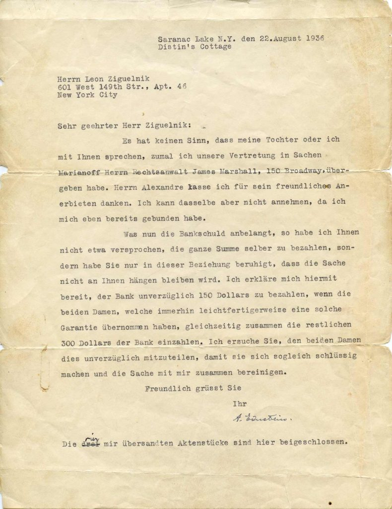 A typed, signed letter of Albert Einstein, authenticated by PSA/DNA. Used for PR-AE01.