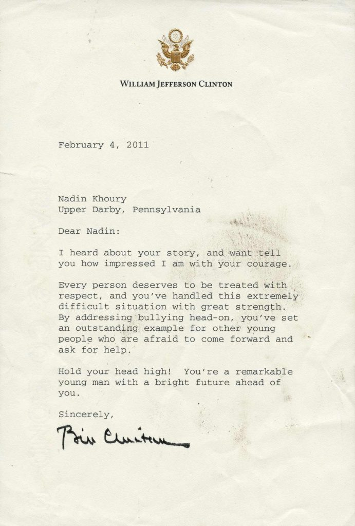 A typed, White House stationary letter, signed by President Bill Clinton. Used for PR-BC01.