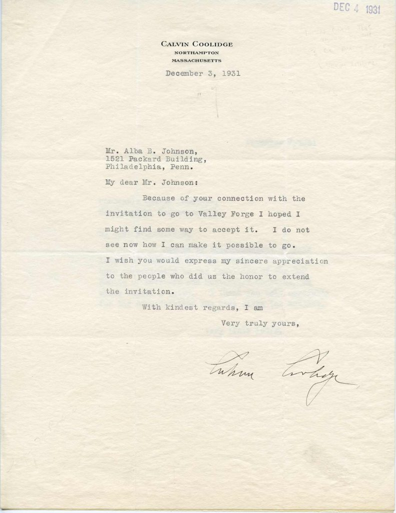 A typed letter, signed by President Calvin Coolidge. Used for PR-CC01.