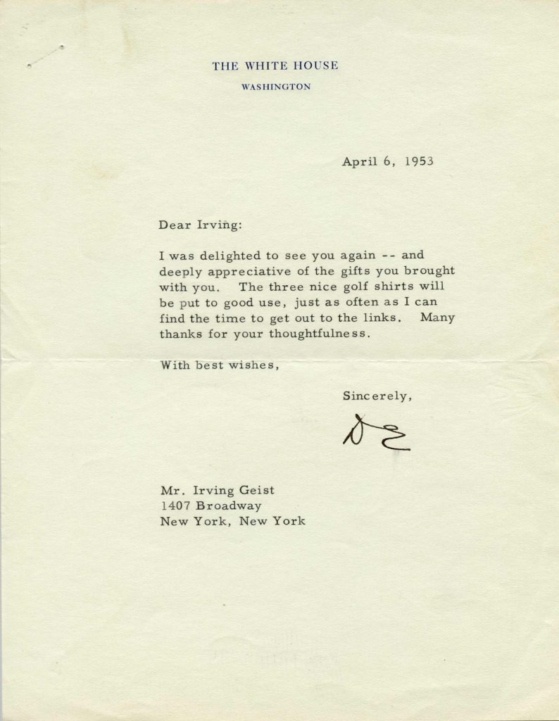 A typed and initialed letter of President Dwight Eisenhower. Used for PR-DE02.