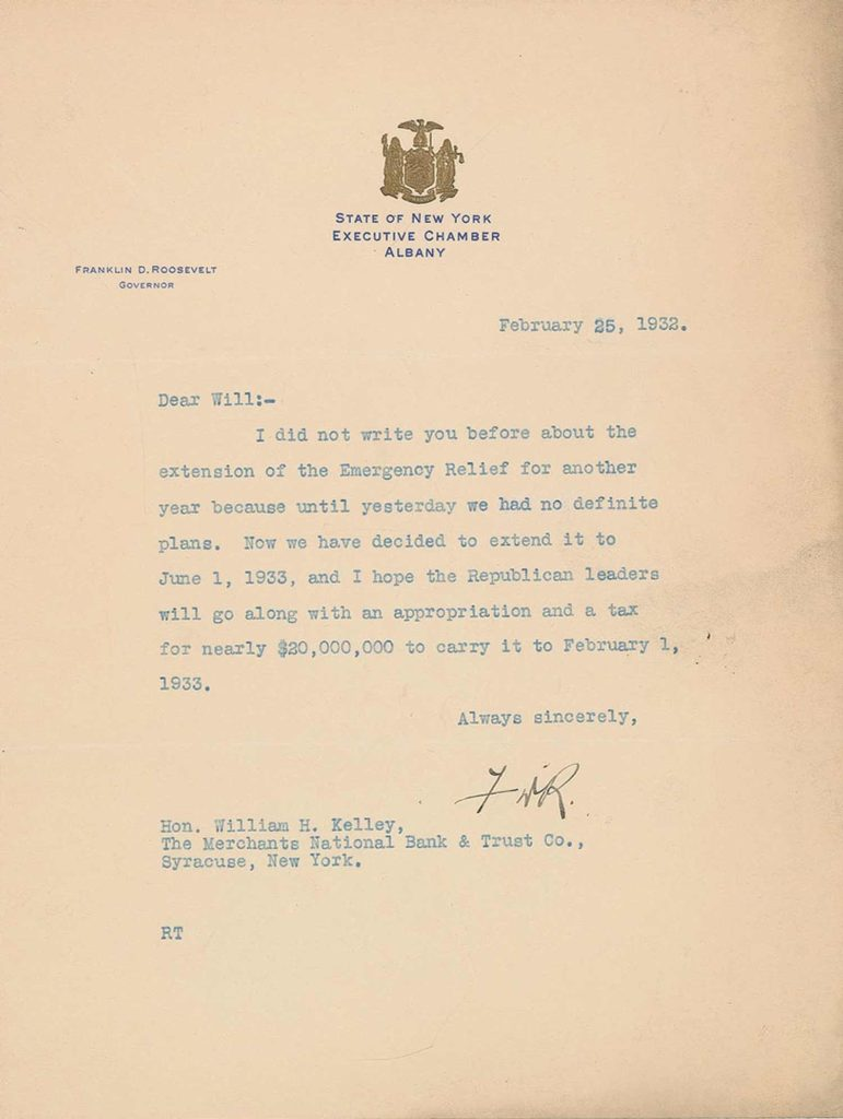 A signed, typed letter from Franklin Roosevelt. PSADNA AC05668. Used for PR-FDR01.