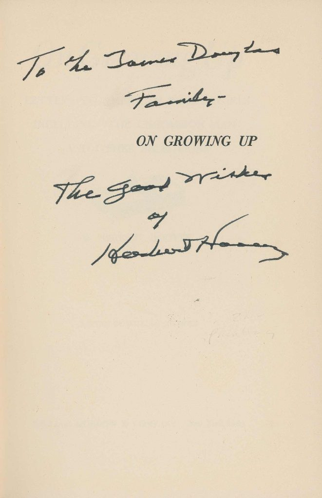 A signed copy of Herbert Hoover's book, this page was signed and personalized by President Hoover. PSADNA Z01617