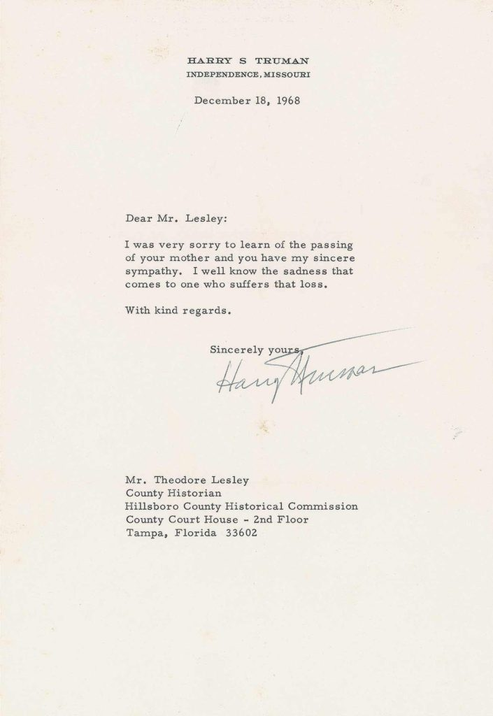 A typed letter signed by President Truman. PSADNA PSADNA AC05669. Used for PR-HST01.