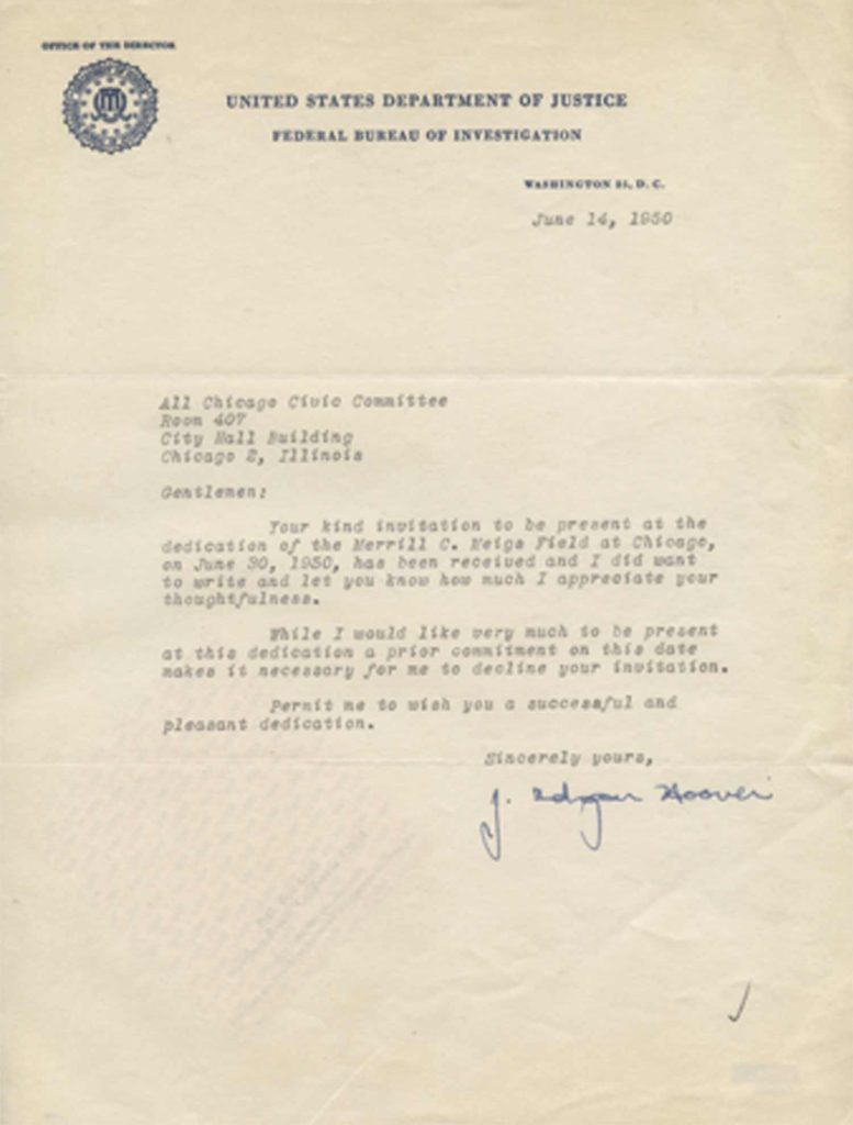 A typed, signed letter from J. Edgar Hoover. PSADNA AA54599. Used for PR-JEH01.