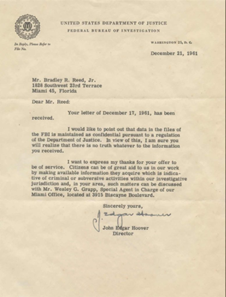 A typed, signed letter from J. Edgar Hoover. PSADNA AA54603. Used for PR-JEH02.