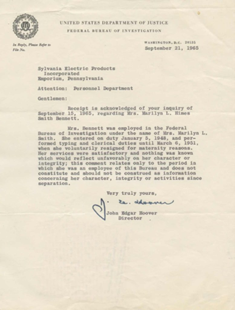 A typed, signed letter from J. Edgar Hoover. PSADNA AA54600. Used for PR-JEH03.