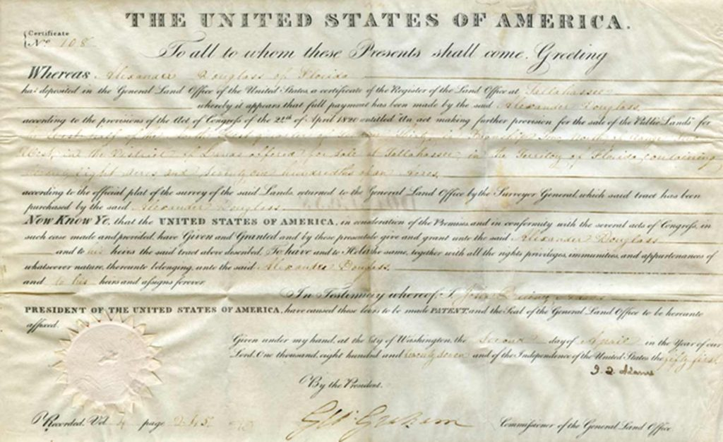A John Quincy Adams signed land grant. Used for PR-JQA01.