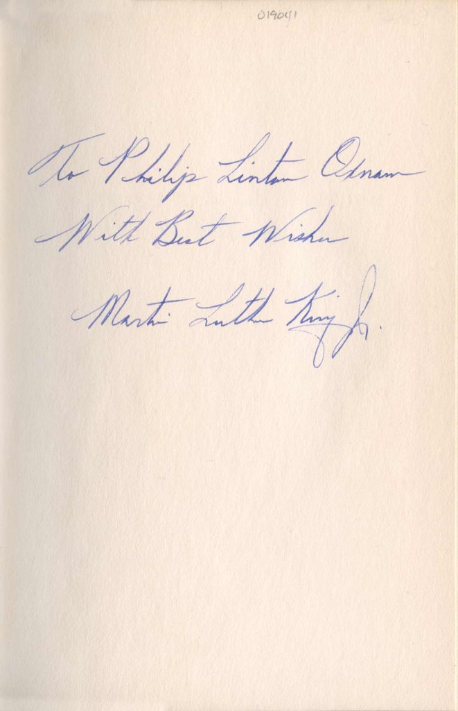 This piece is from a personalized page, written and signed by Martin Luther King, Jr. Used for PR-MLK01.