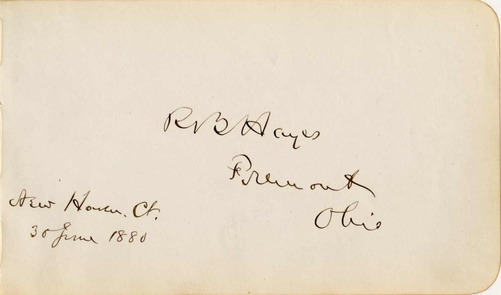 A signed and written autograph book page of Rutherford B. Hayes. Used for PR-RBH01.