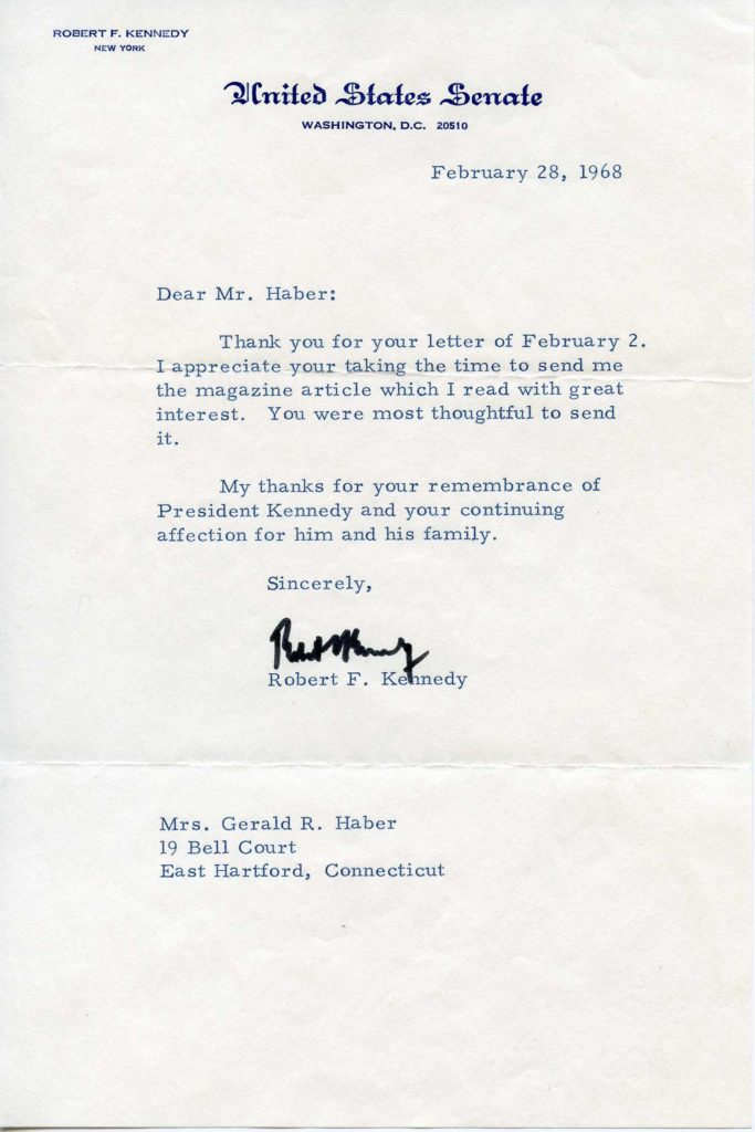 A signed, typed letter by Bobby Kennedy. Used for PR-RFK01.