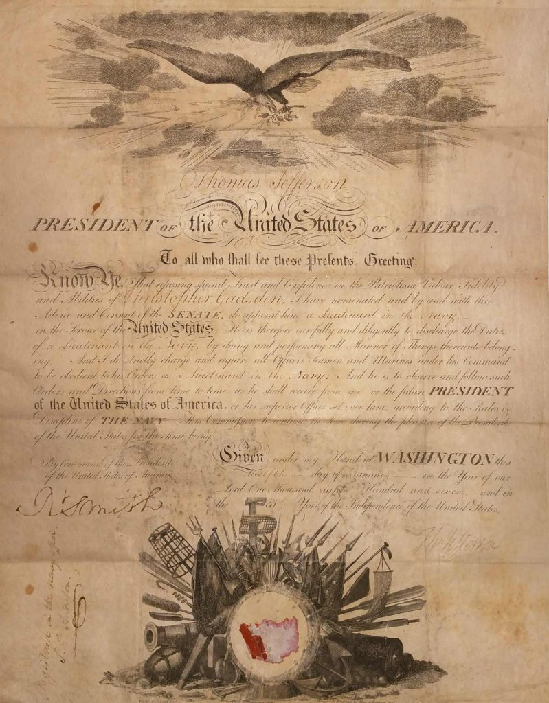 A Thomas Jefferson signed appointment. JSA Y87593. Used for PR-TJ01.