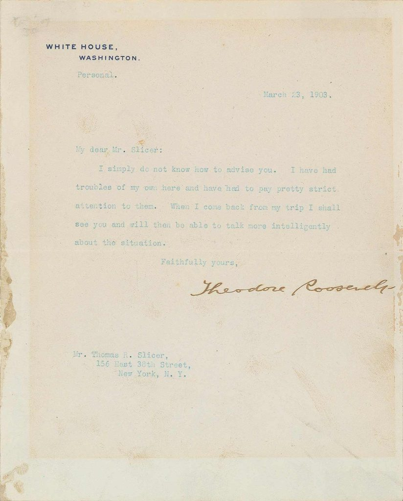A typed, signed letter from Theodore Roosevelt. PSADNA AC05667. Used for PR-TR01.