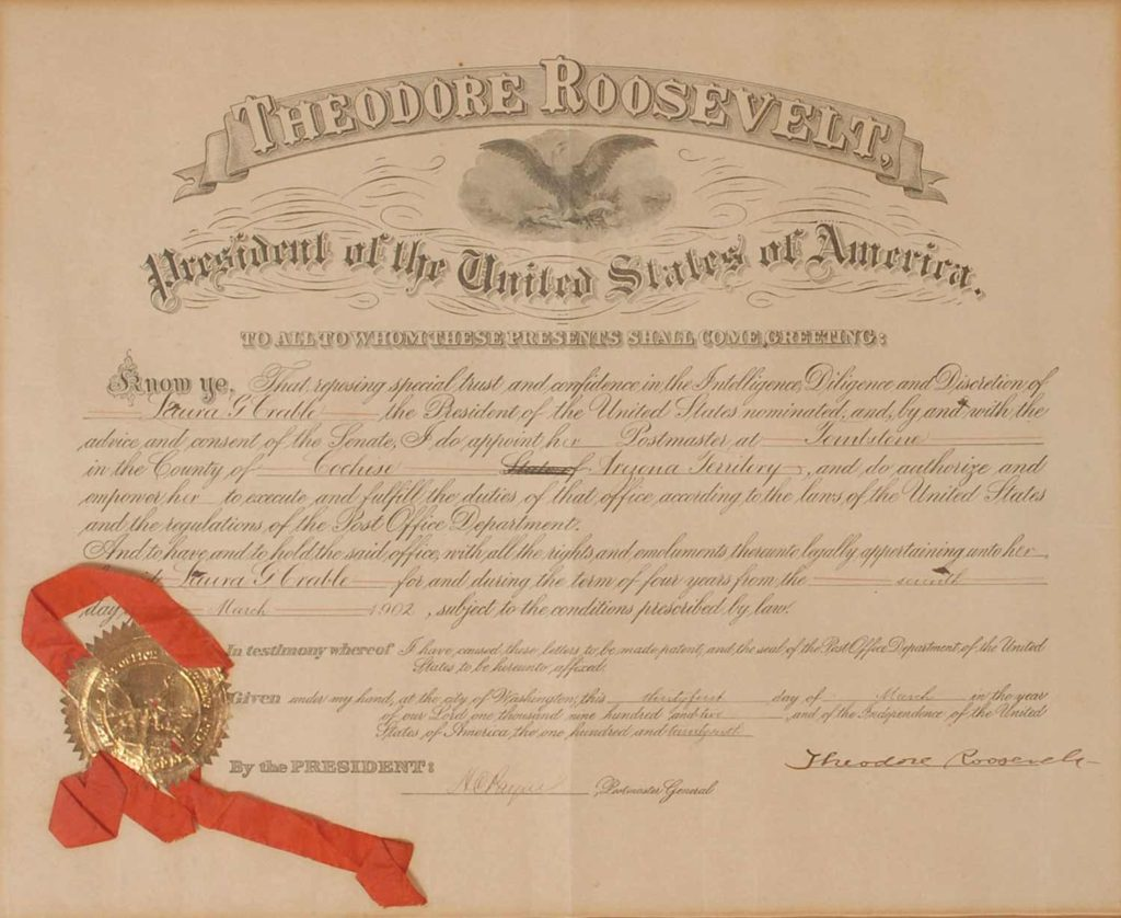 This Theodore Roosevelt signed Postmaster appointment document is certified authentic by PSA/DNA (AB07196). The document is also signed by Henry C. Payne, who served as Theodore Roosevelt's first Postmaster General. Used for PR-TR02.