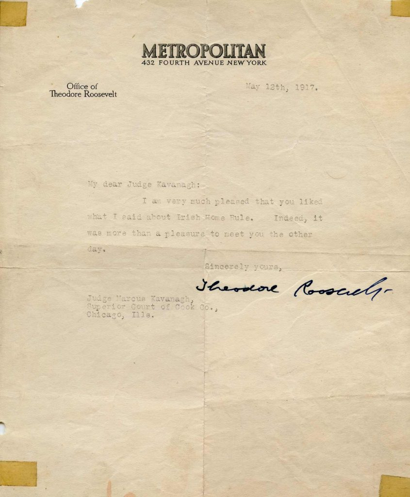 A typed, signed letter from Theodore Roosevelt. PSADNA V09677. Used for PR-TR04.