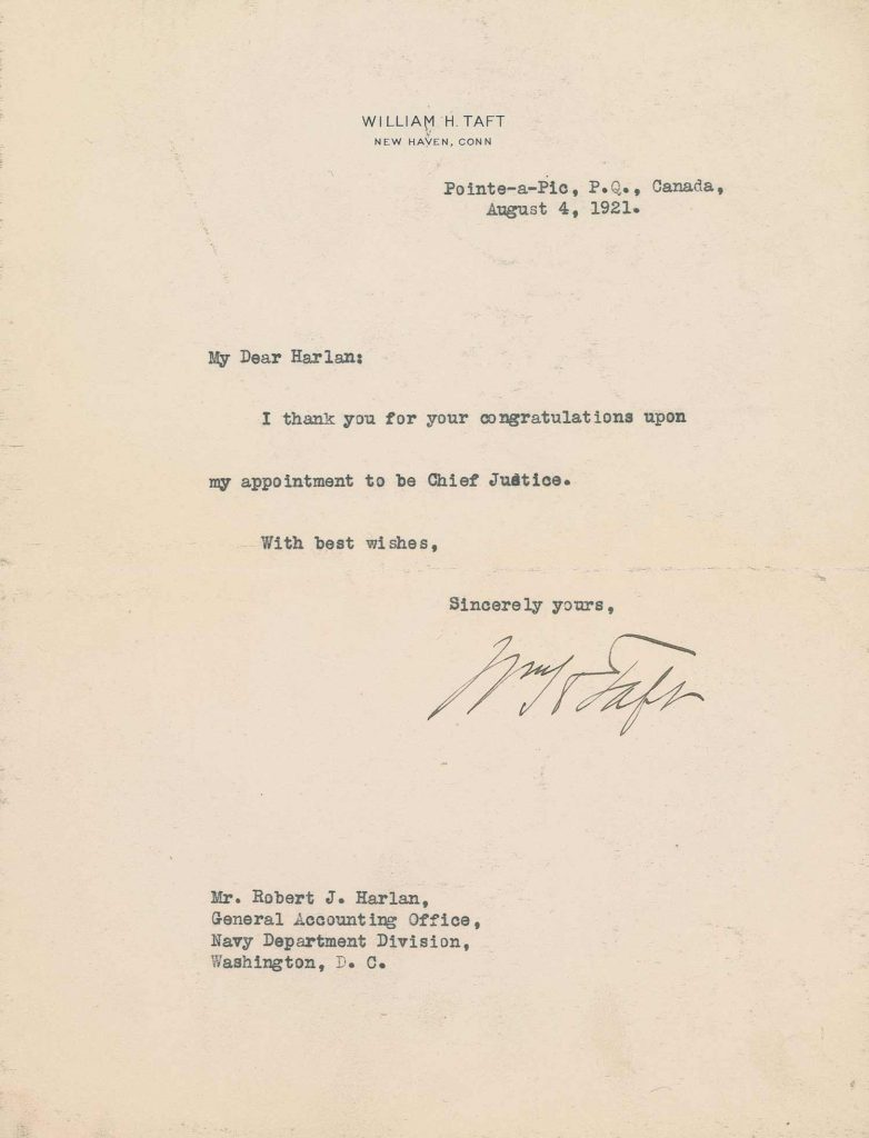 A typed letter from President Taft. PSADNA AC05653. Used for PR-WHT01.