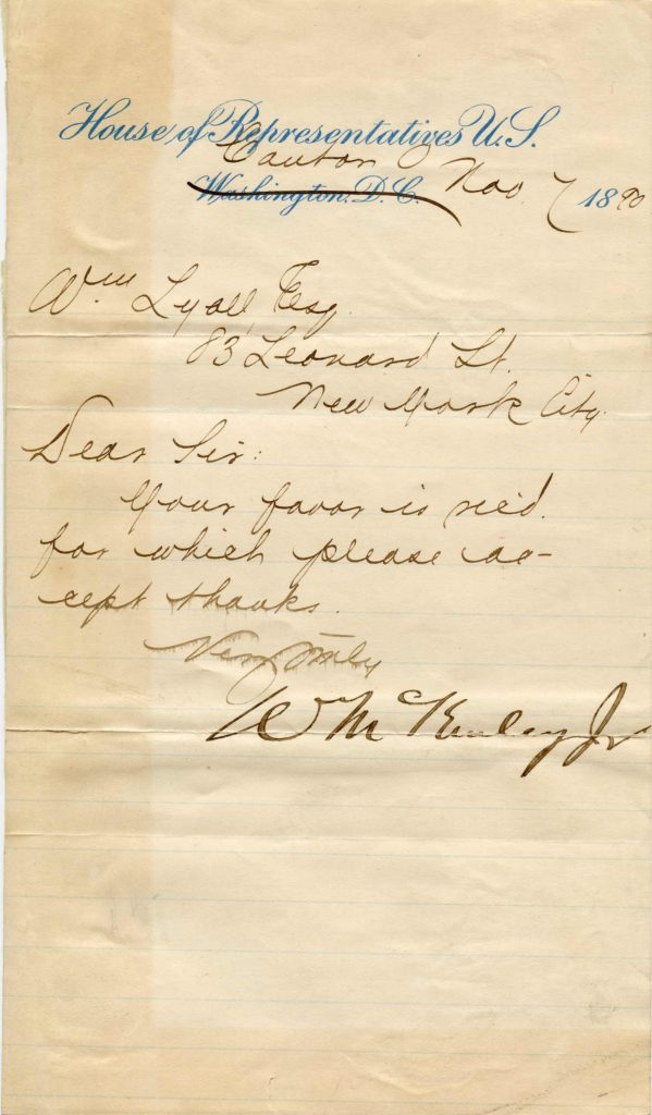 A handwritten, signed letter on House of Representatives notepaper. Used for PR-WM01.