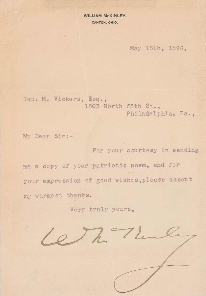 A typed letter that was signed by President McKinley. PSADNA V13912. Used for PR-WM02