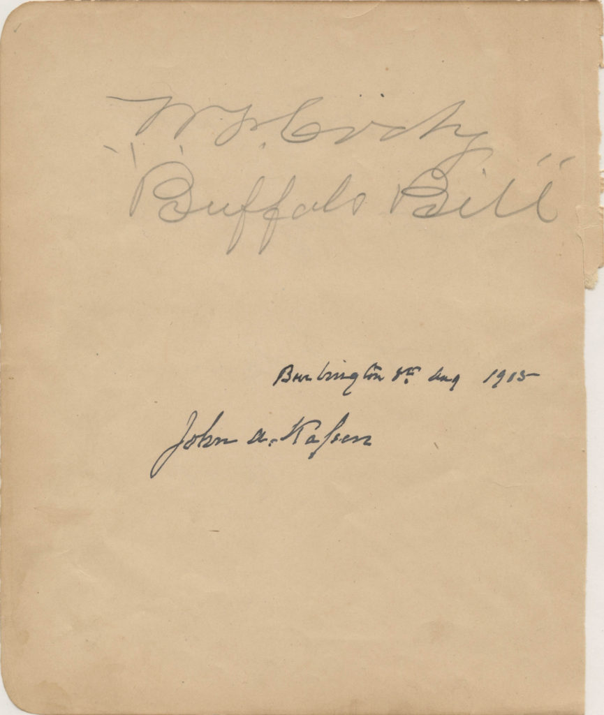 """This page from an autograph book was signed by """"Buffalo Bill"""" Cody and was used for relic card PR-BBC01 from 2017 The Bar - Pieces of the Past Volume Two."""