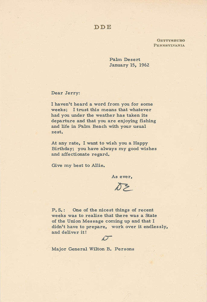 """This 1962 letter was signed by President Dwight D. Eisenhower and was used for relic card PR-DE04 from 2017 The Bar - Pieces of the Past Volume Two. (Note, the """"D"""" in the PS section is also in his hand.)"""