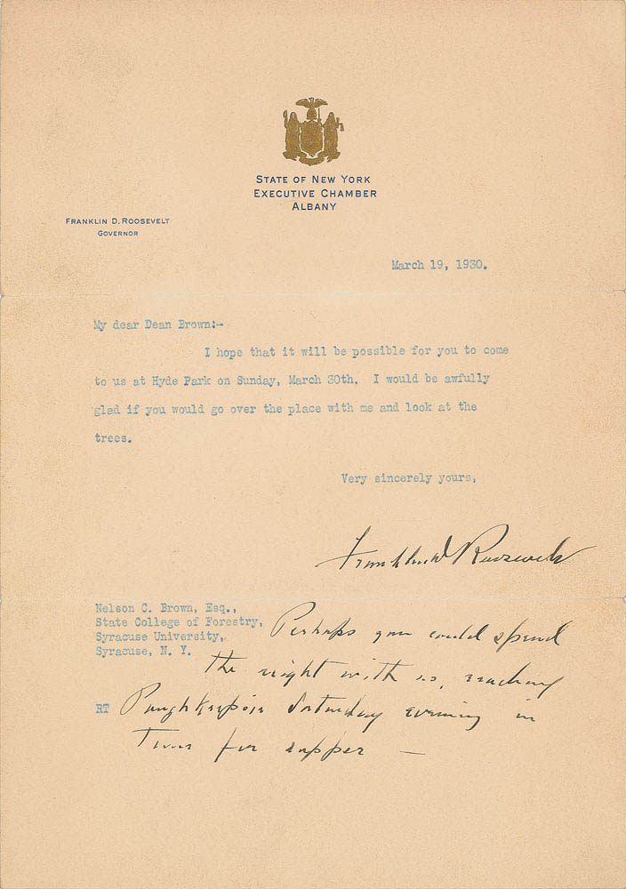 This 1930 letter was signed and partially handwritten by Franklin D. Roosevelt and was used for relic card PR-FDR05 from 2017 The Bar - Pieces of the Past Volume Two.