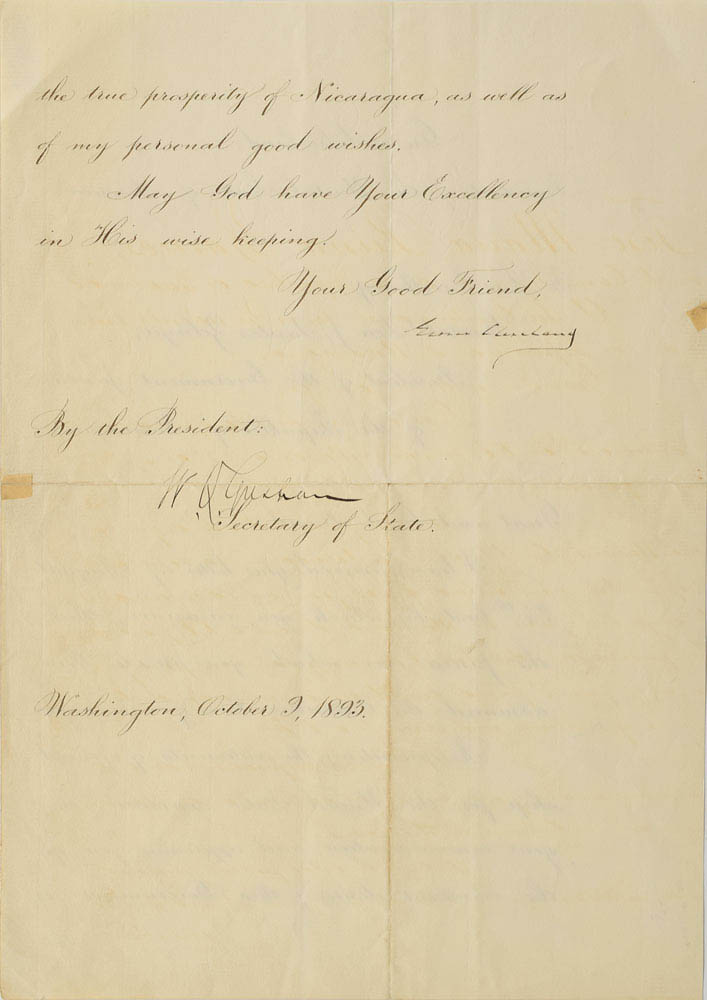 This document was signed by President Grover Cleveland and Secretary of State Walter Q. Gresham and was used for relic card PR-GC01 from 2017 The Bar - Pieces of the Past Volume Two.