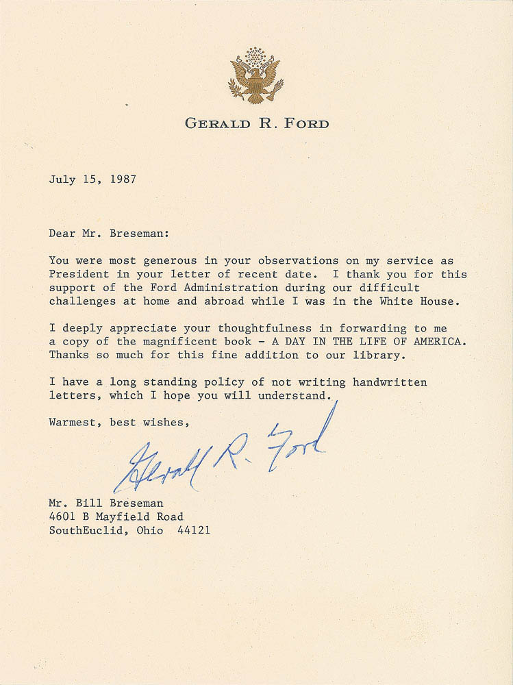 This letter was signed by President Gerald Ford and was used for relic card PR-GF01 from 2017 The Bar - Pieces of the Past Volume Two.