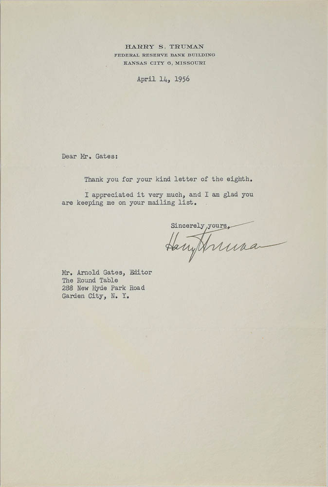 This 1956 letter was signed by President Harry S. Truman and was used for relic card PR-HST03 from 2017 The Bar - Pieces of the Past Volume Two.