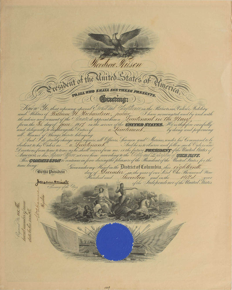 This naval appointment was signed on behalf of President Woodrow Wilson by Josephus Daniels and was used for relic card PR-JD01 from 2017 The Bar - Pieces of the Past Volume Two.