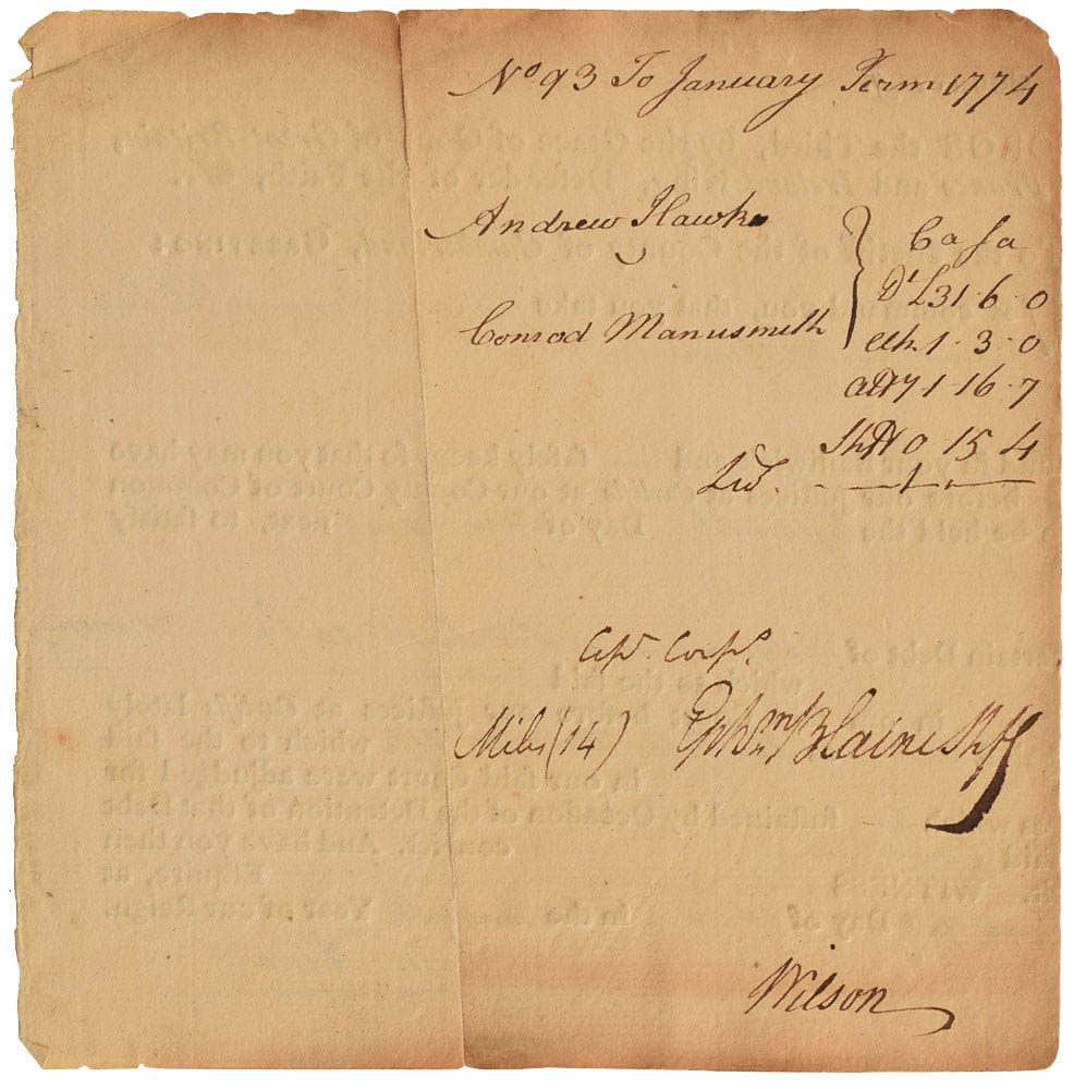 This document was signed by Declaration of Independence signer James Wilson and was used for relic card PR-JW01 from 2017 The Bar - Pieces of the Past Volume Two.