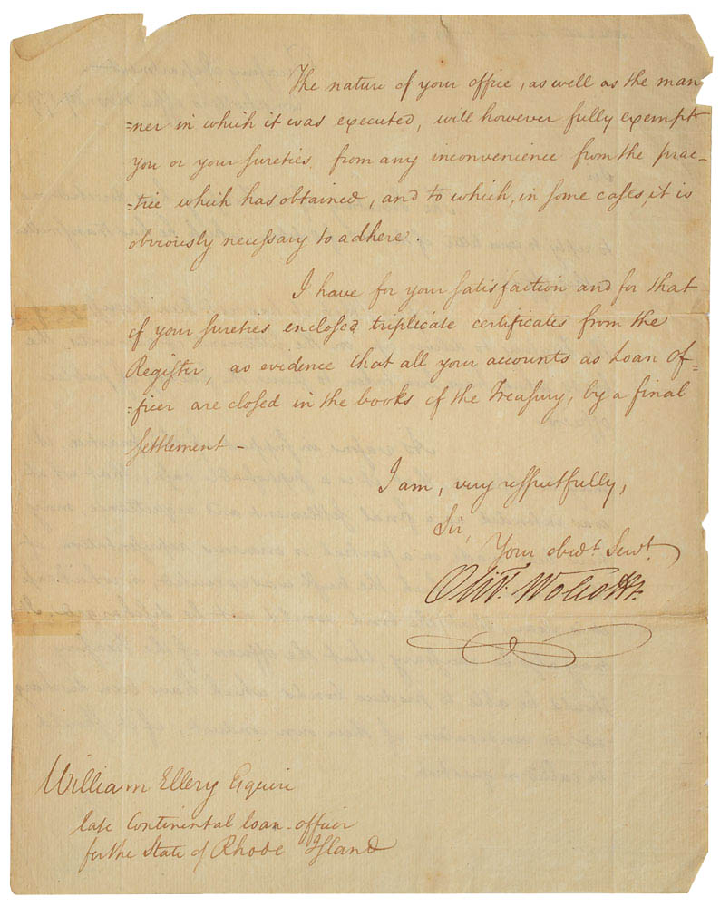 This letter (and perhaps written in full) was signed by Oliver Wolcott Jr. and was used for relic card PR-OWJ01 from 2017 The Bar - Pieces of the Past Volume Two.