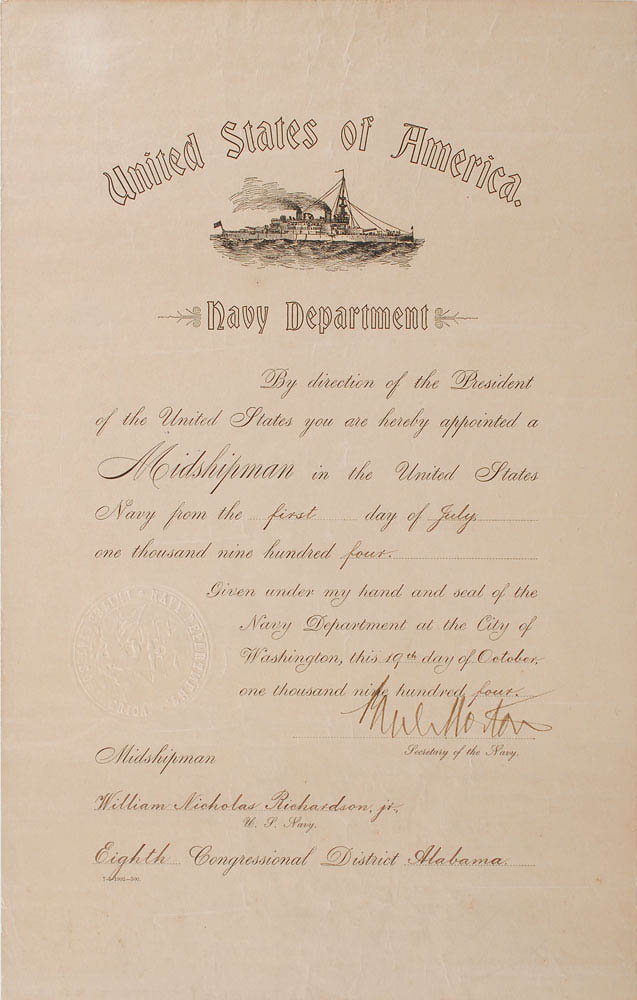 This naval appointment was signed by Paul Morton and was used for relic card PR-PM01 from 2017 The Bar - Pieces of the Past Volume Two.