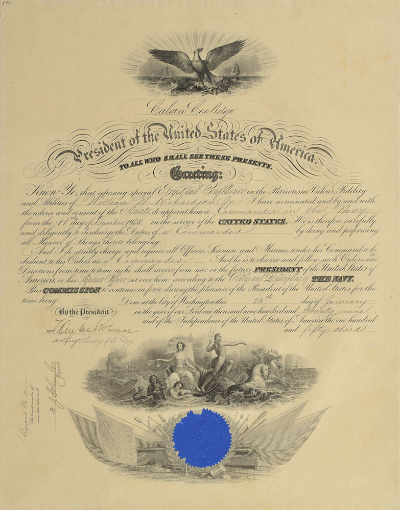 This naval appointment was signed on behalf of President Calvin Coolidge by Theodore Douglas Robinson and was used for relic card PR-TDR01 from 2017 The Bar - Pieces of the Past Volume Two.