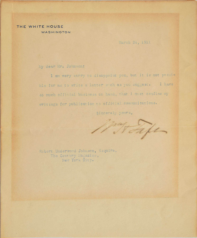 This letter was signed by President William Howard Taft and was used for relic card PR-WHT03 from 2017 The Bar - Pieces of the Past Volume Two.