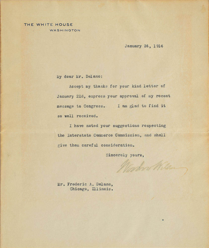 This letter addressed to Franklin D. Roosevelt's uncle was signed by President Woodrow Wilson and was used for relic card PR-WW01 from 2017 The Bar - Pieces of the Past Volume Two.